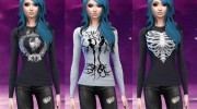 Skull and skeleton long sleeve shirts для Sims 4 миниатюра 1
