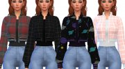Snazzy Bomber Jacket Top for Sims 4 miniature 3