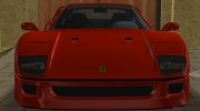 Ferrari F40 TT Black Revel for GTA Vice City miniature 5