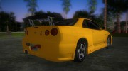 Nissan Skyline GTR R34 (Tuning 3) for GTA Vice City miniature 3