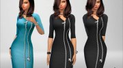 Zip Dress for Sims 4 miniature 3