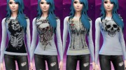 Skull and skeleton long sleeve shirts для Sims 4 миниатюра 3