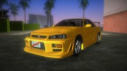 Nissan Skyline GTR R34 (Tuning 3) for GTA Vice City miniature 1