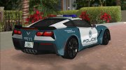 Chevrolet Corvette C7 Police for GTA Vice City miniature 3