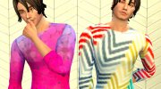 Geometric Long Sleeve Shirt for Sims 4 miniature 2