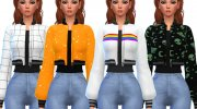 Snazzy Bomber Jacket Top for Sims 4 miniature 1