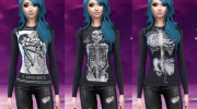 Skull and skeleton long sleeve shirts для Sims 4 миниатюра 2