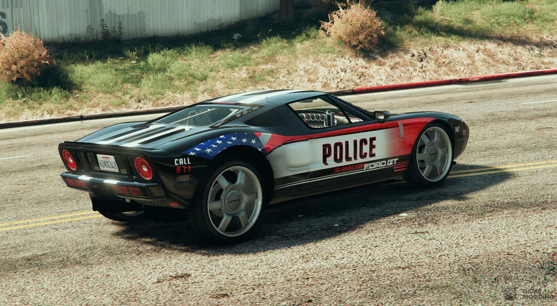 Ford Gt Police Car For Gta  Rear Left View