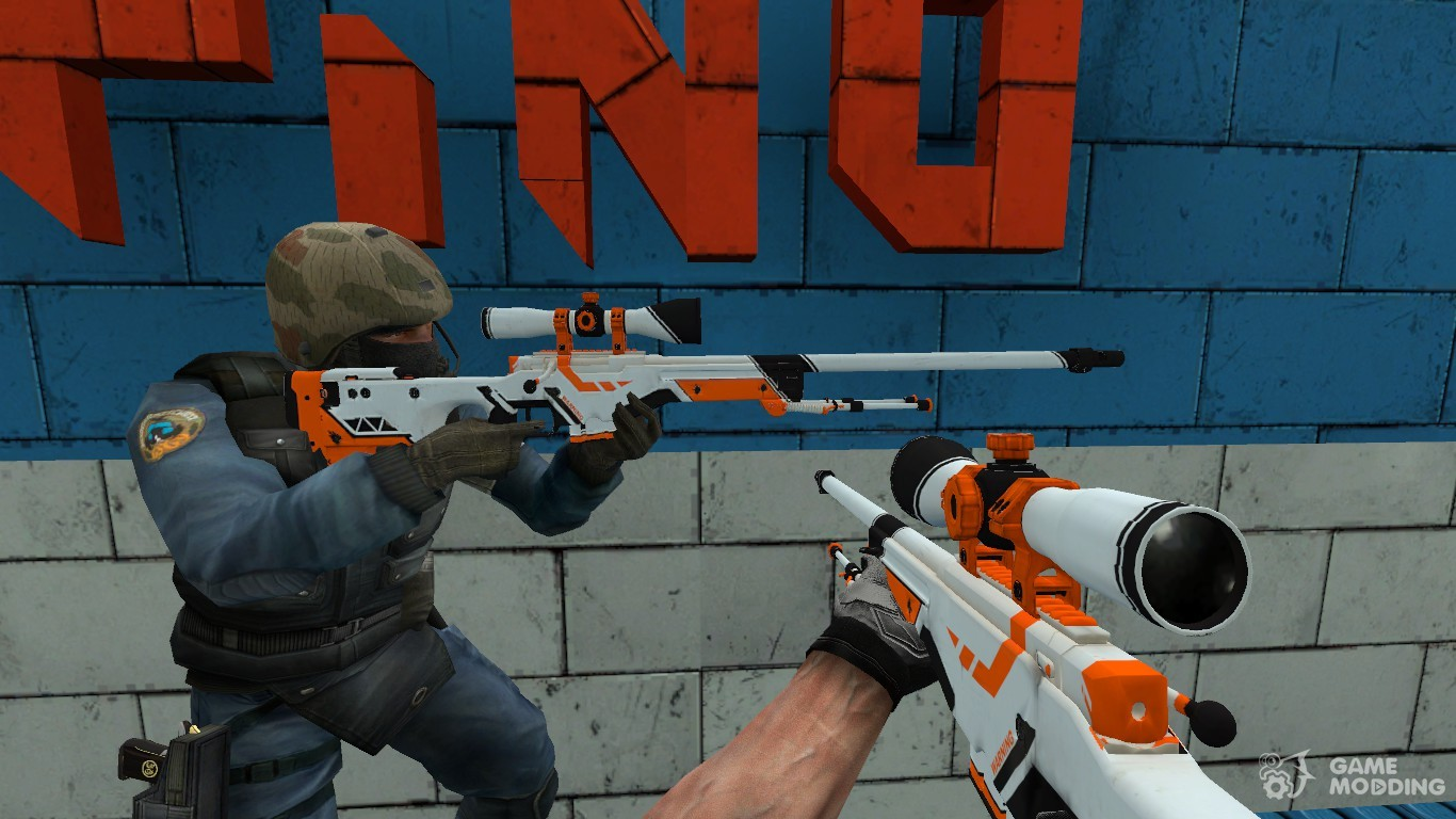 CSGO AWP Asiimov For Counter Strike Source Left View
