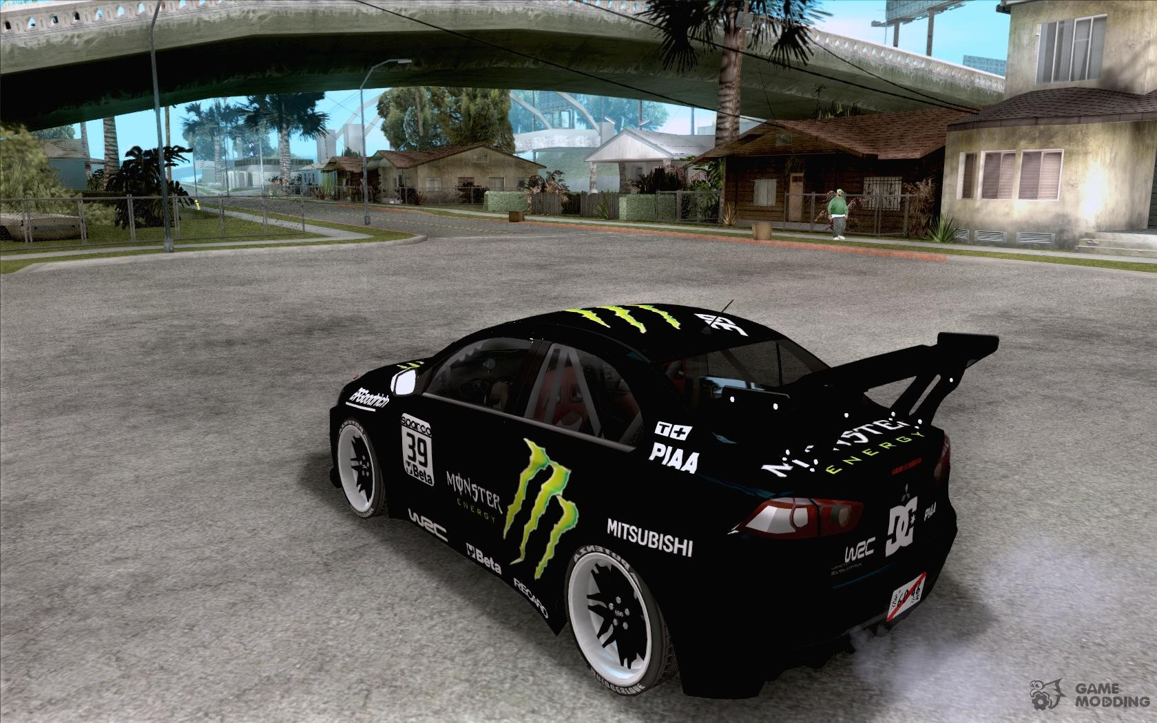 Delightful Mitsubishi Lancer Evolution X Monster Energy For GTA San Andreas Rear Left  View Awesome Design