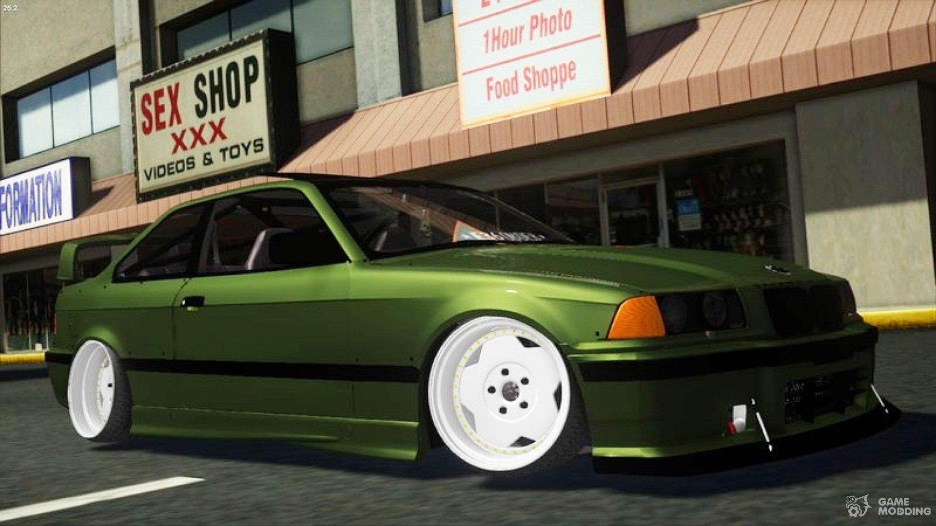 1998 Bmw E36 Green Army By Hazzard Garage For Gta San Andreas