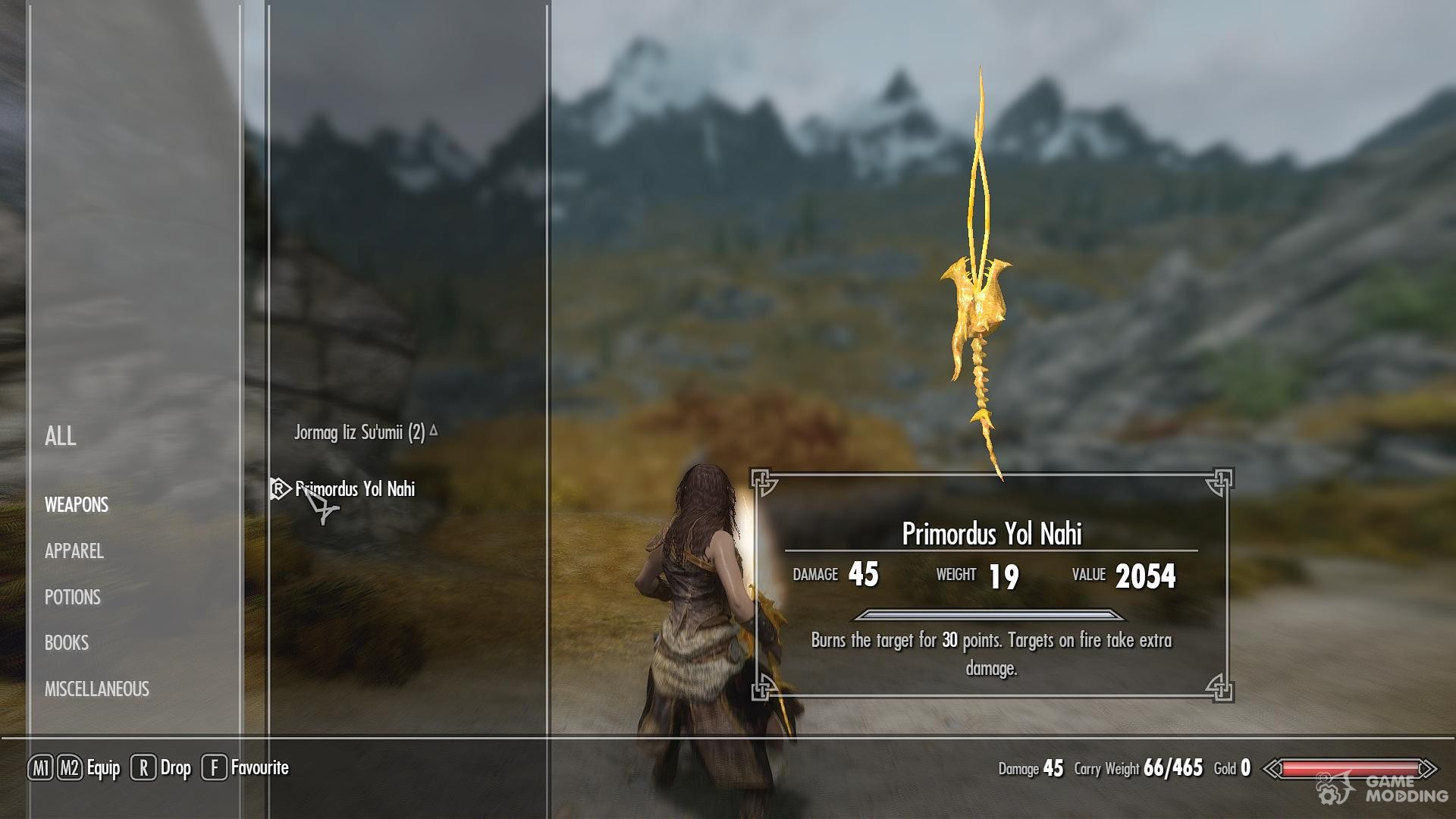 скайрим мод на 2 огненный меч дракона