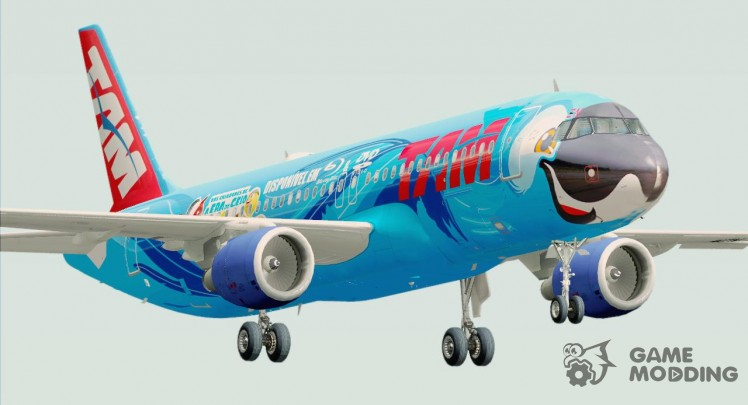 Airbus A320-200 of TAM Airlines-Rio movie livery (PT-MZN)