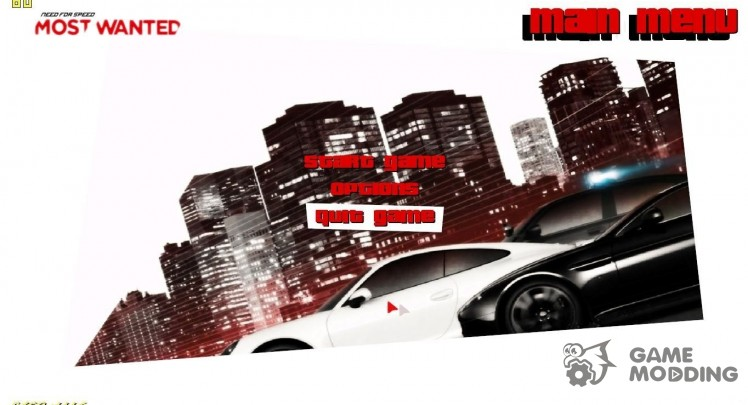 Menu in the style of NFS Most Wanted 2012