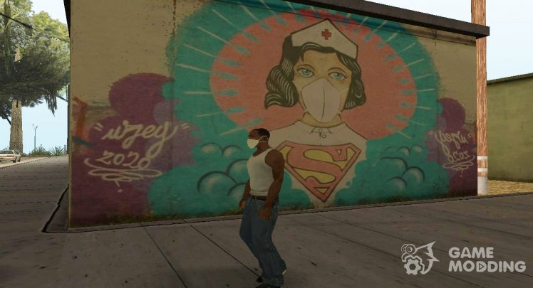 Nurse Superwoman Coronavirus Graffiti