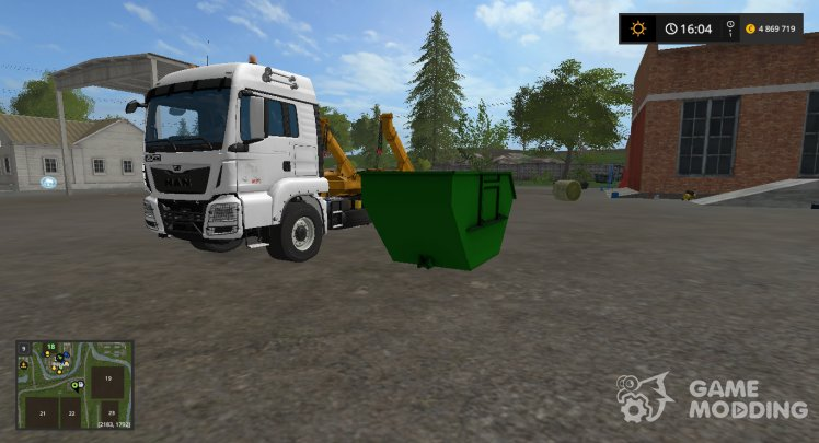 MAN skip truck with container (v1.0 Pummelboer)