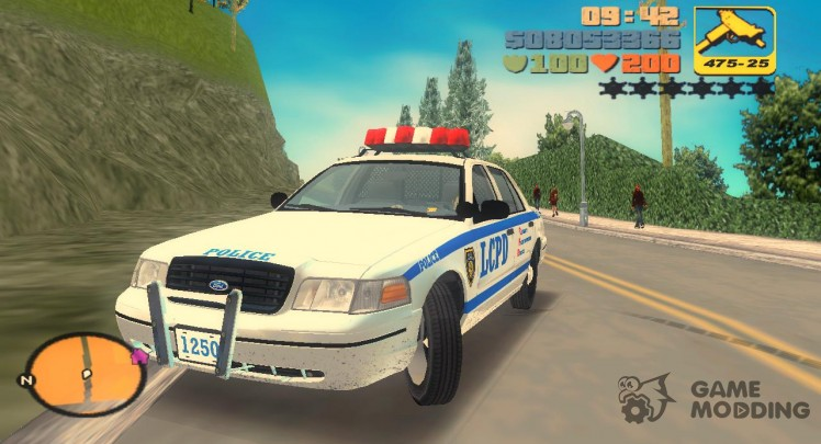 Ford Crown Victoria LCPD Cruiser 1998 (slightly dirty and with steel wheels (without caps))