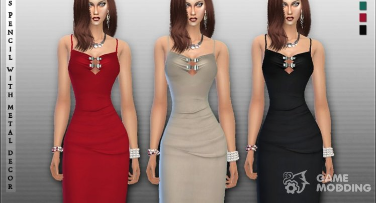 Pencil Dress with Metal Decor