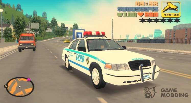 Ford Crown Victoria LCPD Cruiser 1998 (clean and with caps)
