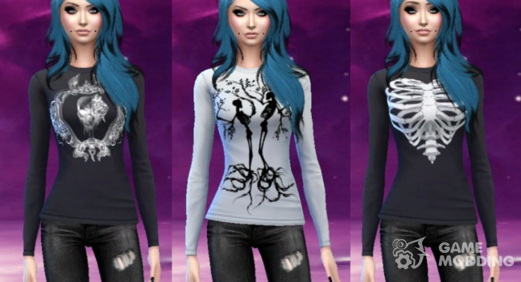 Skull and skeleton long sleeve shirts для Sims 4