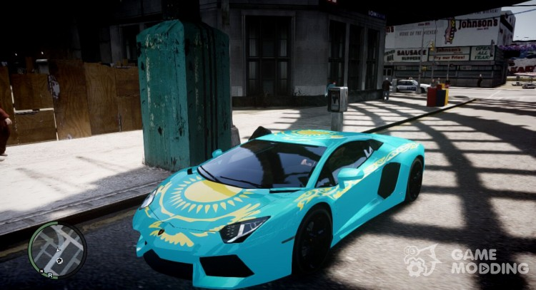 Lamborghini Aventador with a flag of Kazakhstan for GTA 4