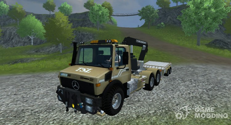 Mercedes-Benz Unimog crane devices Trailer for Farming Simulator 2013