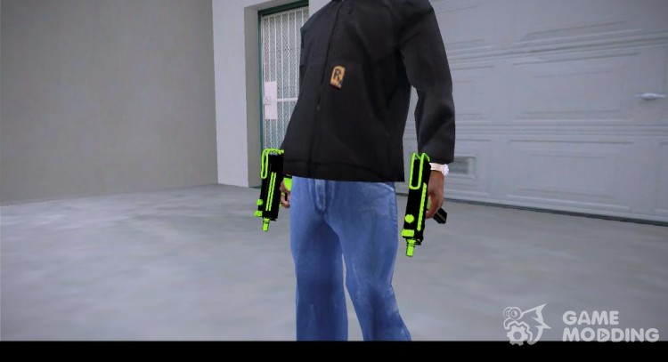 Micro Uzi chrome green для GTA San Andreas
