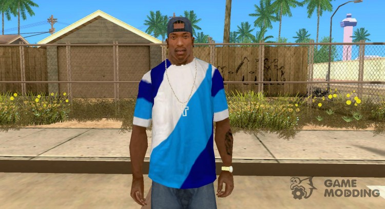 Blue-white-blue t shirt for GTA San Andreas