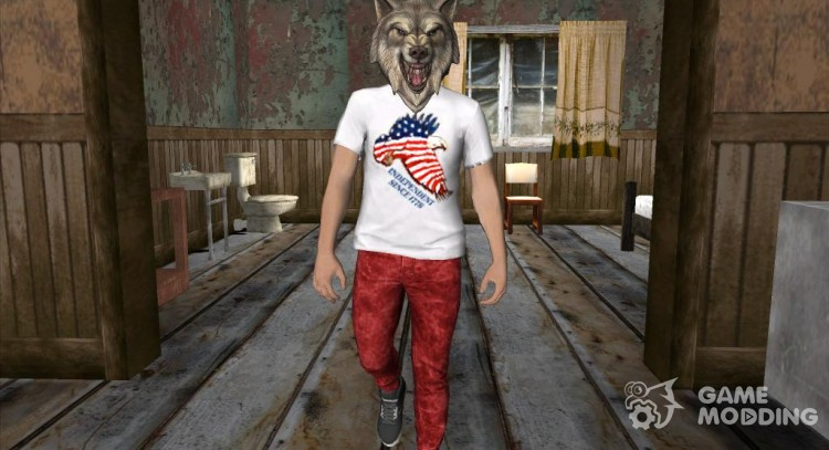 Skin HD GTA V Online guy in a Wolf mask for GTA San Andreas