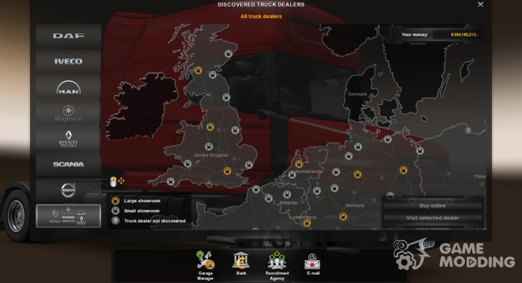 Save (100 percent) on the Map for Euro Truck Simulator 2