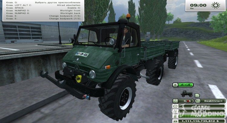 Unimog U 84 406 Series and Trailer v 1.1 Forest for Farming Simulator 2013