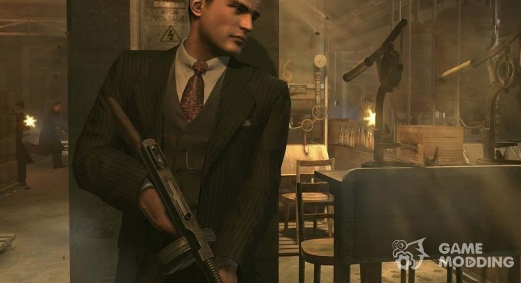 The beta version of the bespoke suit, striped for Mafia II