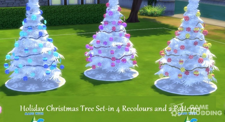 4 Recoloured Holiday Christmas Tree Set for Sims 4