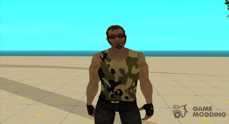 Postal dude in camouflage tank top 2 for GTA San Andreas
