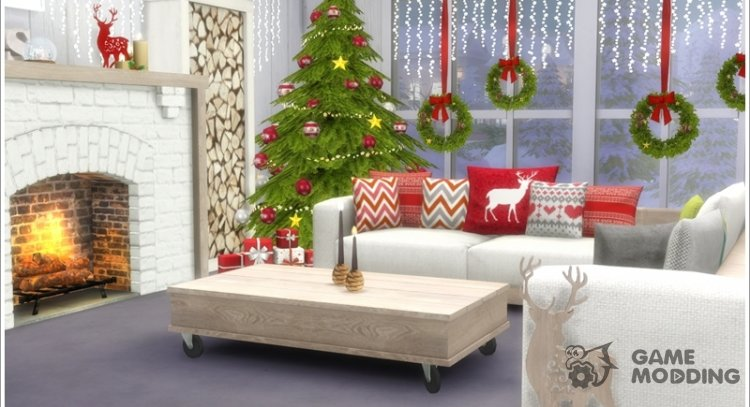 Scandinavian Christmas living for Sims 4