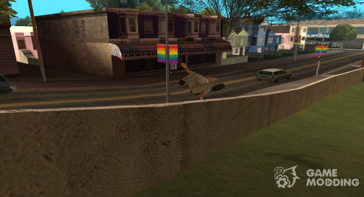 Camera while jumping the fence, in the style of GTA 4 for GTA San Andreas