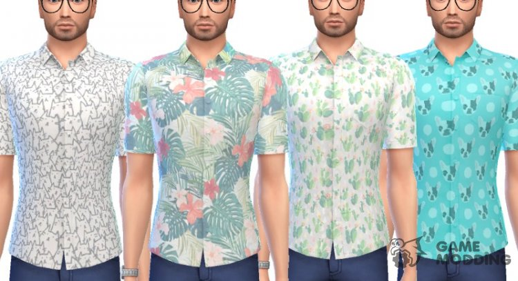 A Snazzy Button - Up Shirts for Sims 4