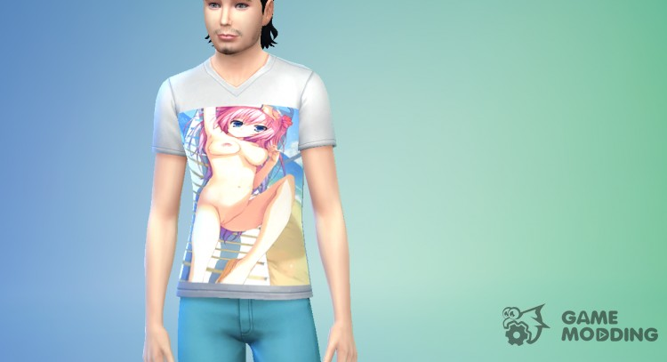 Men's t-shirt with a hentai print for Sims 4
