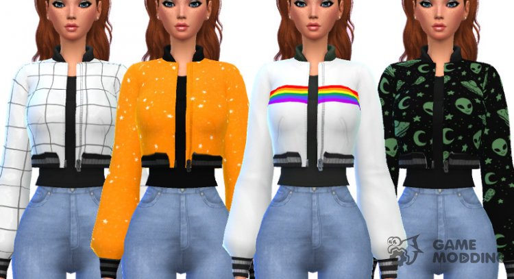 Snazzy Bomber Jacket Top for Sims 4