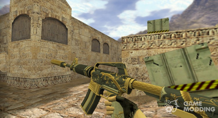 M4A1 Golden spiral for Counter Strike 1.6