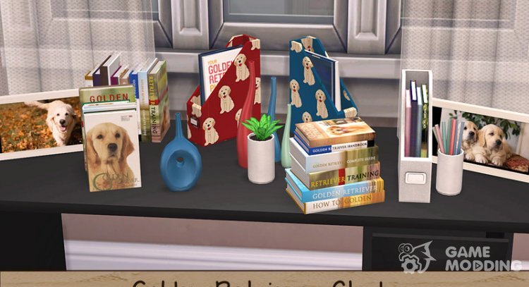 Golden Retriever Study Accessories Collection for Sims 4