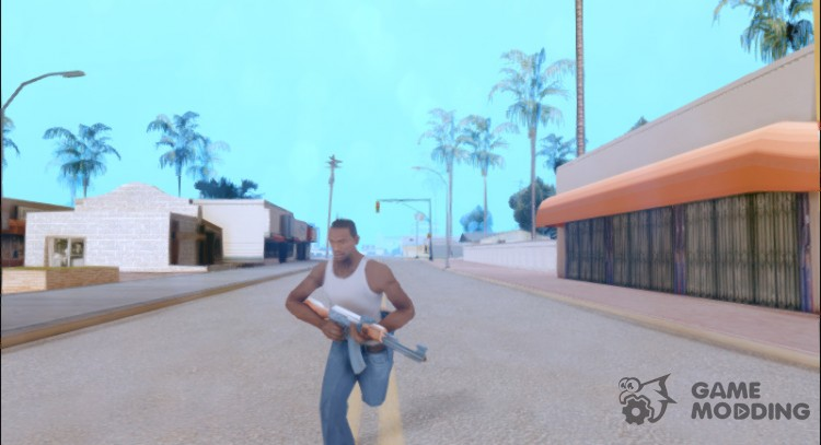 Sprinting With Two Handed Weapons для GTA San Andreas