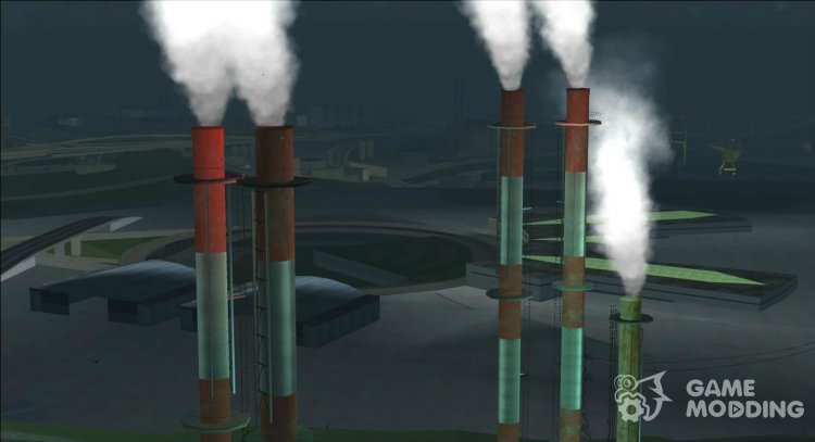 Smoke in factory pipes