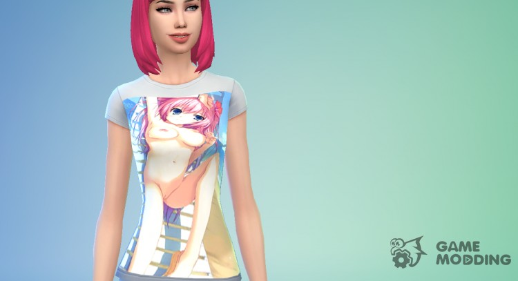 Women's t-shirt with a hentai print for Sims 4