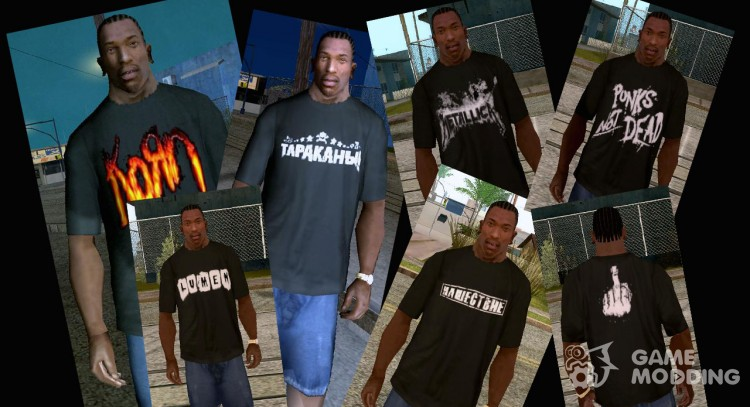 Rock t-shirts pack for GTA San Andreas