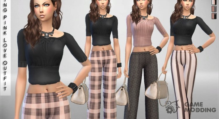 Spring Pink Love Outfit for Sims 4