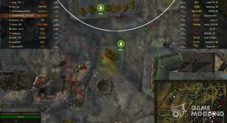 Felled trees and destroyed objects on the mini map for World Of Tanks