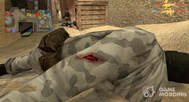 Realistic traces of bullets on flesh for Counter-Strike Source