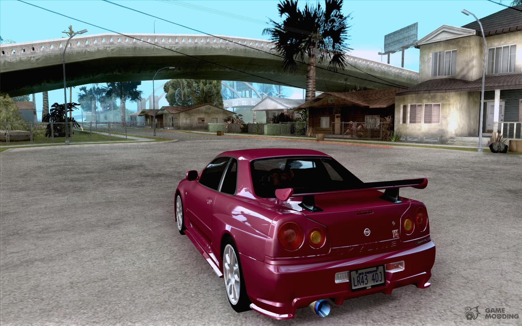 Nissan skyline gt r r34 m spec nur for gta san andreas rear