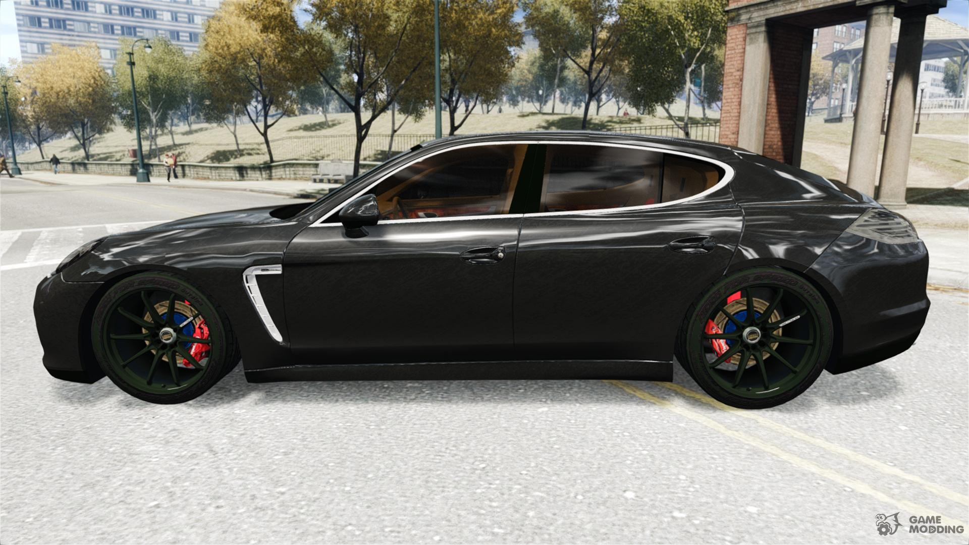 porsche panamera turbo 2010 black edition for gta 4 left view